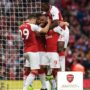 LONDON, ENGLAND - AUGUST 11:  Alexandre Lacazette celebrates scoring a goal for Arsenal with Granit Xhaka and Danny Welbeck during the Premier League match between Arsenal and Leicester City at Emirates Stadium on August 11, 2017 in London, England.  (Photo by David Price/Arsenal FC via Getty Images) *** Local Caption *** Alexandre Lacazette; Granit Xhaka; Danny Welbeck