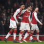 LONDON, ENGLAND - FEBRUARY 03:  Pierre-Emerick Aubameyang and henrikh Mkhitaryan of Arsenal celebrate the 1st Arsenal goal during the match the Premier League match between Arsenal and Everton at Emirates Stadium on February 3, 2018 in London, England.  (Photo by David Price/Arsenal FC via Getty Images) *** Local Caption *** Pierre-Emerick Aubameyang; Henrikh Mkhitaryan