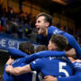 LONDON, ENGLAND - MAY 18: Ben Chilwell of Chelsea celebrates as team mate Antonio Ruediger (L) celebrates after scoring their sides first goal during the Premier League match between Chelsea and Leicester City at Stamford Bridge on May 18, 2021 in London, England. A limited number of fans will be allowed into Premier League stadiums as Coronavirus restrictions begin to ease in the UK following the COVID-19 pandemic. (Photo by Darren Walsh/Chelsea FC via Getty Images)