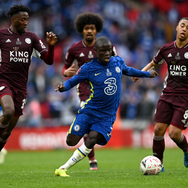 LONDON, ENGLAND - MAY 15: NÕgolo Kante of Chelsea during The Emirates FA Cup Final match between Chelsea and Leicester City at Wembley Stadium on May 15, 2021 in London, England. A limited number of around 21,000 fans, subject to a negative lateral flow test, will be allowed inside Wembley Stadium to watch this year's FA Cup Final as part of a pilot event to trial the return of large crowds to UK venues. (Photo by Darren Walsh/Chelsea FC via Getty Images)